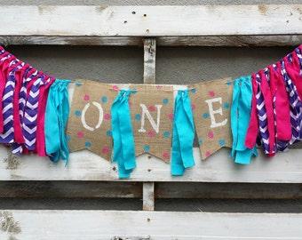 Purple and Pink Chevron Birthday Rag Garland, Birthday Banner, Fabric Banner, Highchair Birthday Decoration, Birthday Photo Prop,