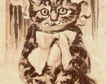Vintage CAT Postcard: Kitty Wearing Bonnet and a Big Bow