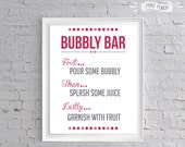 RESERVED: 3 Signs Bubbly Bar Printable 8x10 Sign, Custom Color Bachelorette Party Bridal Shower Baby Shower Champagne