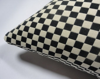 Alexander Girard Checker fabric, 1965.  Black and White pillow.  Down feather insert included. Maharam fabric