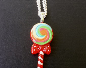 Swirly Lollipop with Cute Bow Resin Pendant Necklace