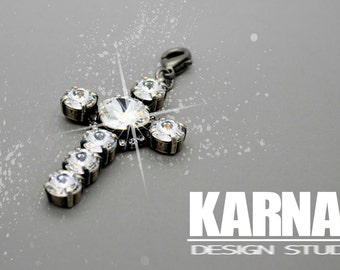 CRYSTAL CROSS 8mm/12mm Cushion Cut Pendant Swarovski Elements *Choose Your Finish *Karnas Design Studio™ *Free Shipping*