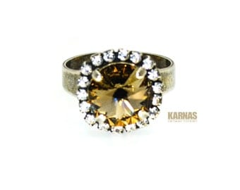 GREIGE 12mm Adjustable Crystal Halo Ring Made With Swarovski Elements *Pick Your Finish *Karnas Design Studio *Free Shipping*