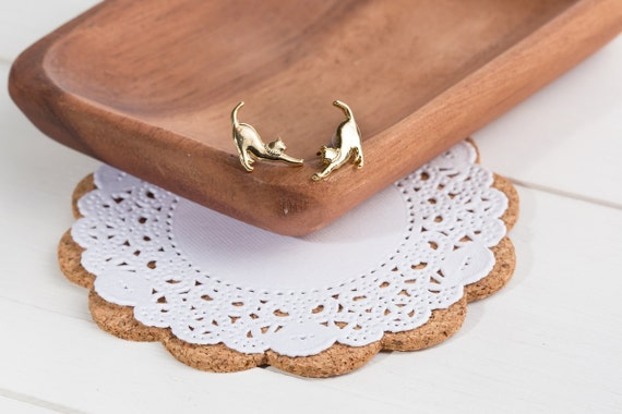 Stretching Cat earring studs (Gold-plated brass with nickel-free earring post)