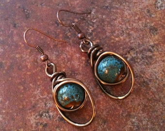 Copper Wire Wrapped Blue Turquoise Ceramic Bead Earrings