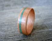 Pearwood Wood Ring, Offset Malachite Inlay, Bent Wood Ring, Wood Wedding Ring, Wood Engagement Ring