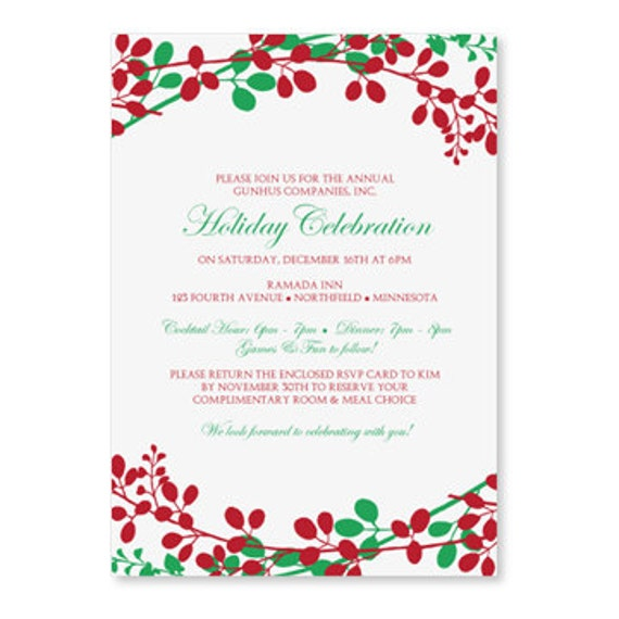 christmas dinner invitation template by loveandpartypaper on etsy. Black Bedroom Furniture Sets. Home Design Ideas