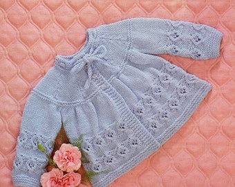 Baby Matinee Coat on the Yoke. PDF Vintage Knitting Pattern No. 1161.