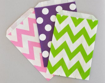Candy Buffet Favor Bags Goodie Bags Wedding Candy Buffet Baby Shower Candy Buffet Bags Polka Dot Chevron Bags 2| (EB2358CD) - set of 24