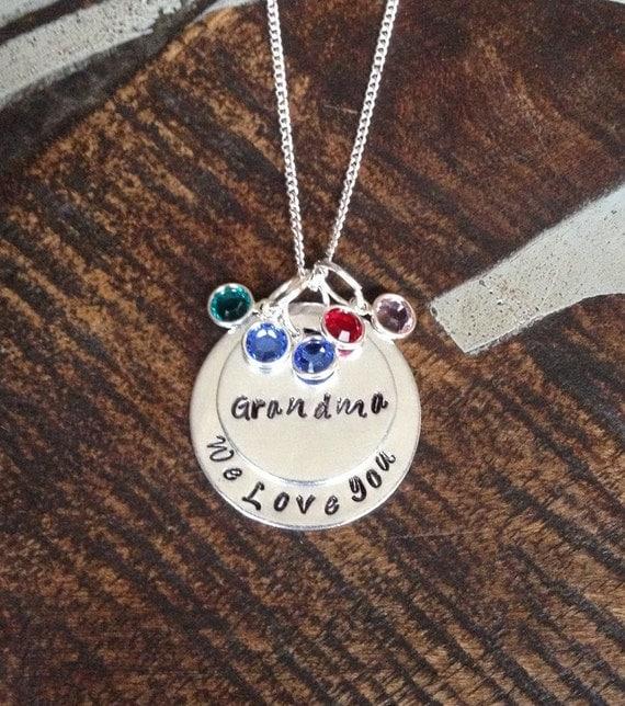 grandma necklace grandchild necklace personalized necklace