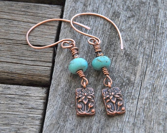 Turquoise earrings copper wirework and charm