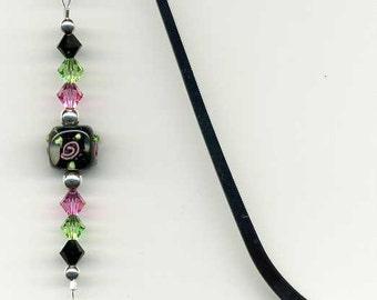 Beaded Bookmark, Beaded Dancer Bookmark , Crystal Ballerina Bookmark, Swarovski Crystal Bookmark, Glass Bead Bookmark, Ballet Shoes Charm