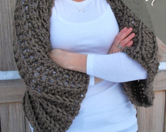 Crochet PATTERN - Cozy Sweater Shrug - Chunky Shawl - Bolero - Easy