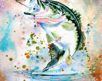 FISH watercolor painting original Limited Edition Giclee Art Print from my original watercolor painting of a bass, 11 X 14