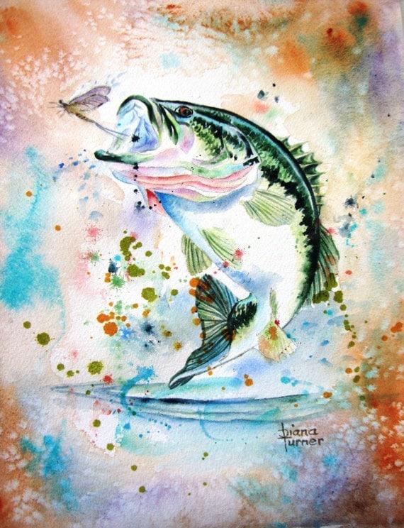 Items similar to fish bass watercolor painting original for Paintings of fish