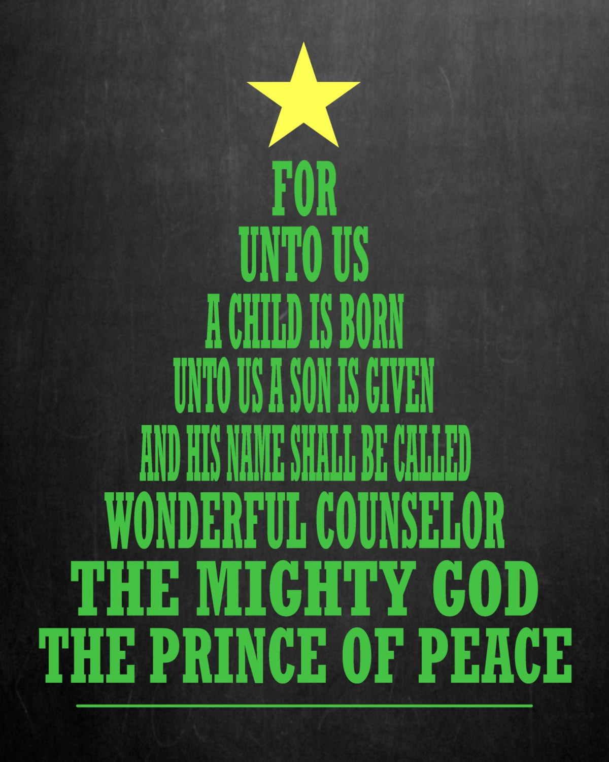 For Unto Us a Child Is Born Christmas Chalkboard Printable
