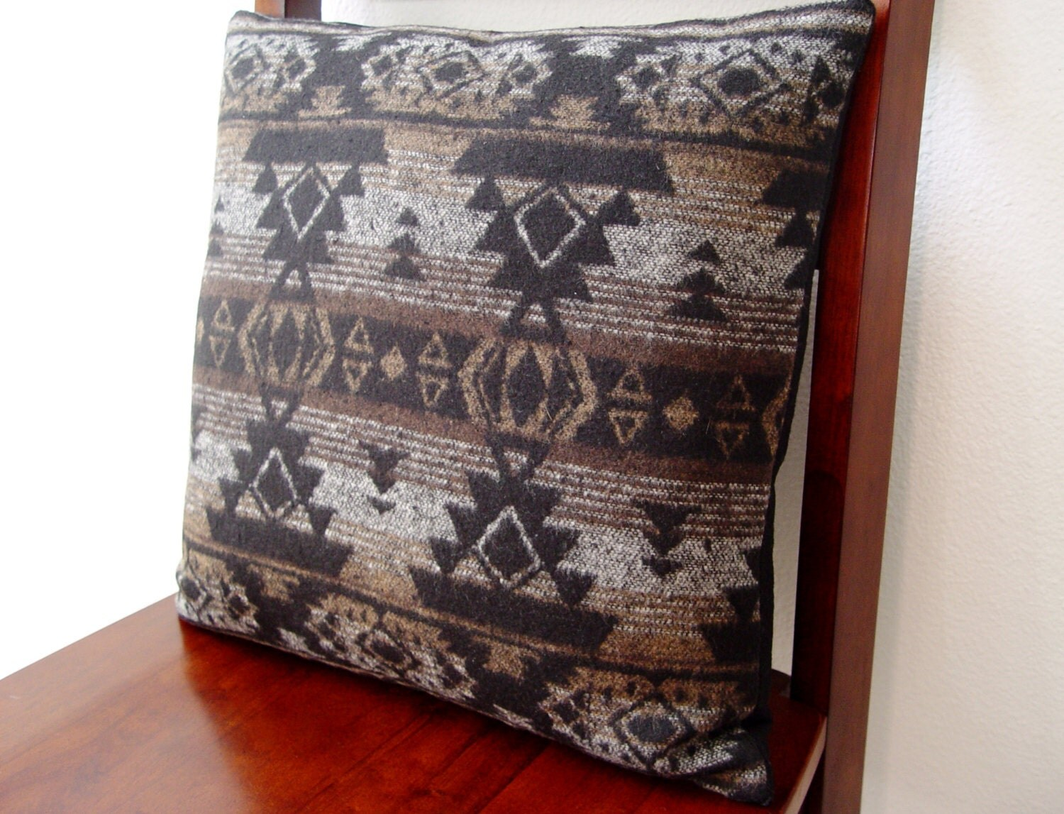 Southwestern Decorative Pillow 15 x 15 Wool Tribal Geometric