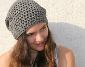 Slouchy Hat, Crochet Hat, Gray Hat, Cotton Hat, Slouchy Beanie, Handmade Hat, Summer Hat, Womens Accessories
