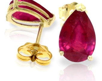 3.5 Ct 14k Solid Gold Natural Ruby Earrings (Yellow Gold, White Gold, Rose Gold)