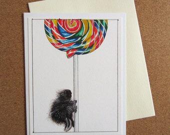 Greeting Card - Baby Porcupine and Lollipop - Birthday or Blank - Kids Birthday, Silly Birthday Card