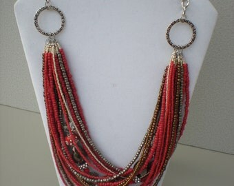 Necklace Seed Bead Multi Strand Silver Beads Autumnal Fall Necklace and Earrings