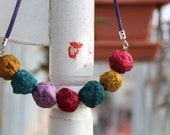 recycled papier mache necklace ''rustic rainbow'' - unique upcycled jewelry - made from mashed egg cases - one of a kind