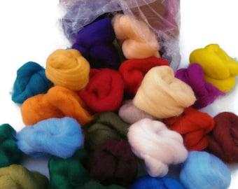 60 Color Wool Roving Sampler with Corriedale Wool Roving. Dyed colors. Primary, Brights, Pastels, Jewel Tones, Wool Roving.