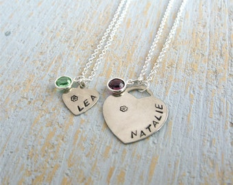 Children's Name Necklace, Child Birthstone Necklace, Personalized Necklace, Child Necklace, id necklace, child heart necklace, Teen Necklace