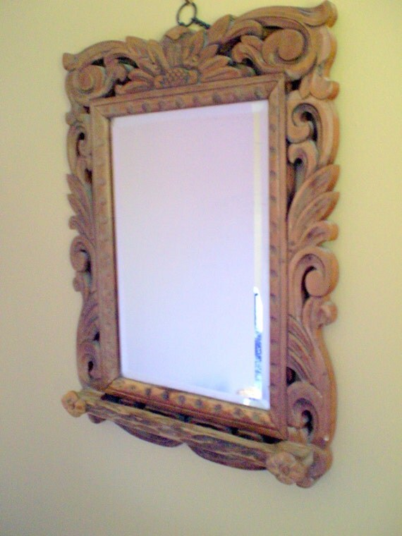 Wooden carved wall mirror with small hanging knobs on front for Small hanging mirror