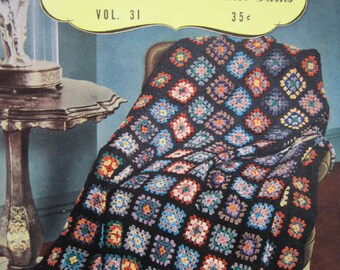 "Crocheted Granny Afghan Blanket Throw - 49"" x 65"" - Vintage 1944"