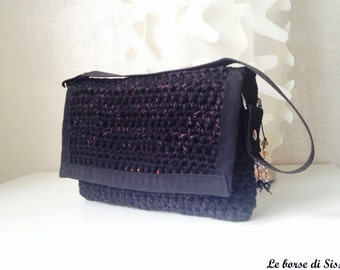 Small bag black cotton crochet, with contrasting Orange lining