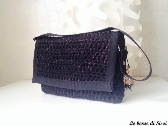Crochet Cotton Bag : Small bag black cotton crochet with contrasting Orange by SISSIis