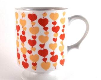 Vintage Orange and Yellow Hearts on a String Coffee Mug