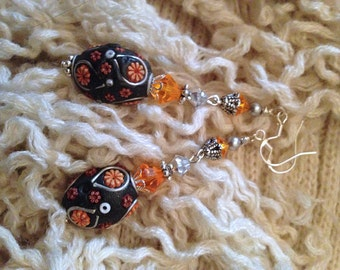Lovely Ceramic & Swarovski Crystal Beaded Earrings: Ceramic Floral Focal Bead, Orange and Clear Swarovski Crystals,Sterling Silver Earwires
