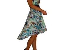 Blue floral dress, circle skirt, hi lo hem, sleeveless, scoop neck, empire band, blue taupe green turquoise, de almeida designs