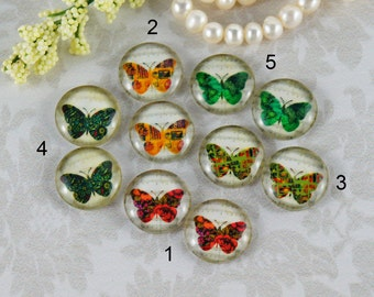 12mm,16mm,20mm Mix Vintage butterfly Handmade photo glass cabochon cabs 12B023