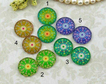 12mm,16mm,20mm cab Mix Vintage flower Mod Design Handmade photo glass cabochon 12G086