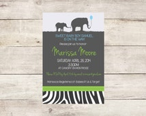 Safari Baby Shower Invitation- Safari Baby Shower- Elephant Baby Shower- Animal Print Baby Shower- Baby Shower Boy