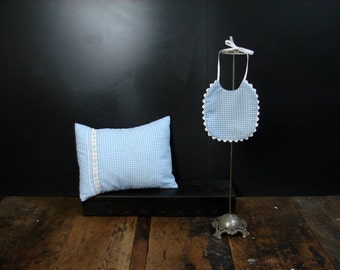 Bib and Pillow Set of Baby Blue Gingham