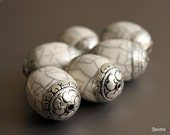 Crackle Shell Resin - Handmade Tibetan Bead - Large Focal - Crackle - Tibetan Repousse - Tibetan Silver Caps