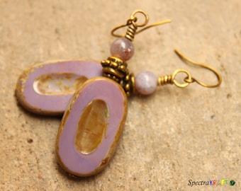 Rustic Purple Oval Earrings - Czech Glass Earrings - Czech Glass Picasso Earrings- Large Dangles