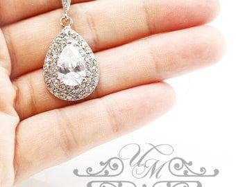Wedding Jewelry Wedding Necklace AAA Cubic Zirconia Teardrop Necklace Teardrop Pendant Bridal Necklace Bridesmaids Necklace - TIFFANIE