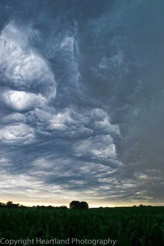 Storm Cloud Photo, Nebraska Print, Midwest Photography, Cornfield Image, Farm Decor, Farmland Print, Storm Photography, Dramatic Sky