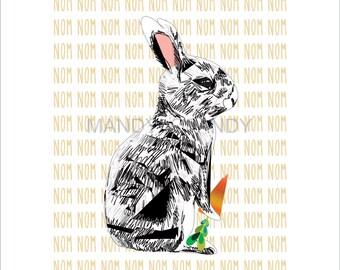 Snack Break, Bunny Graphic Illustration Limited Print