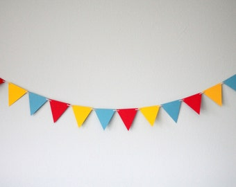 Circus Triangle Garland - Blue, Red and Yellow