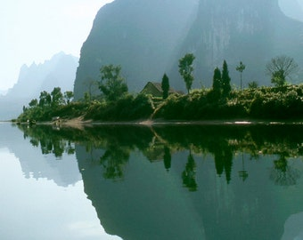 Li River reflection, Yangshuo, China, Nature Landscape photography. Home and Office desk decor photographic print
