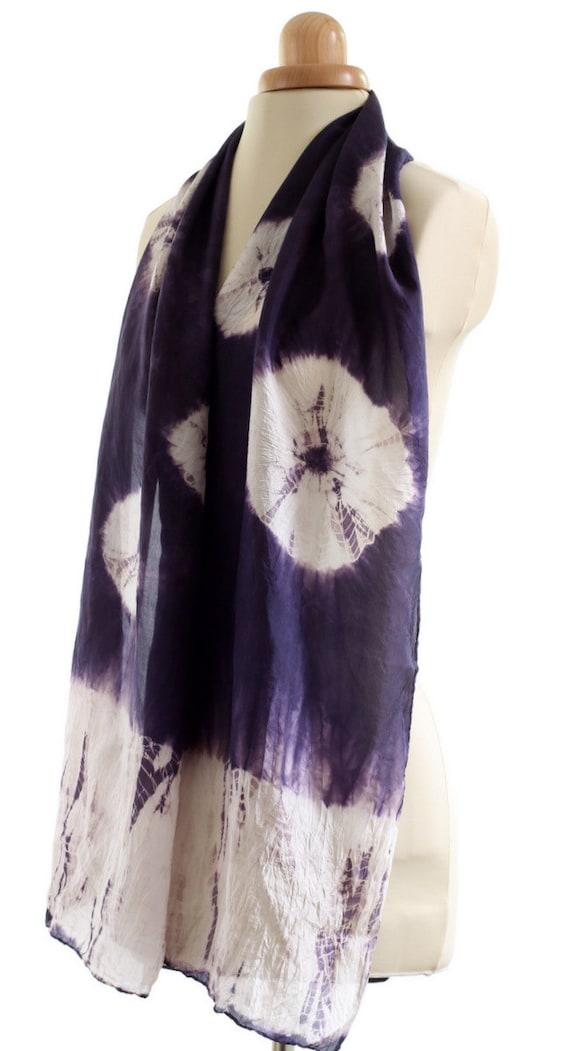 blue silk scarf naturally dyed scarf shibori pattern