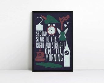 Peter Pan Print - Typography print - J M Barrie Quote - Second star to the right - Literary Quote - Children's Art