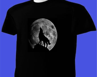 Howling Wolf Full Moon T-Shirt Animal Wildlife #1