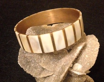 Mother of Pearl Brass Wide Bangle Estate Jewelry